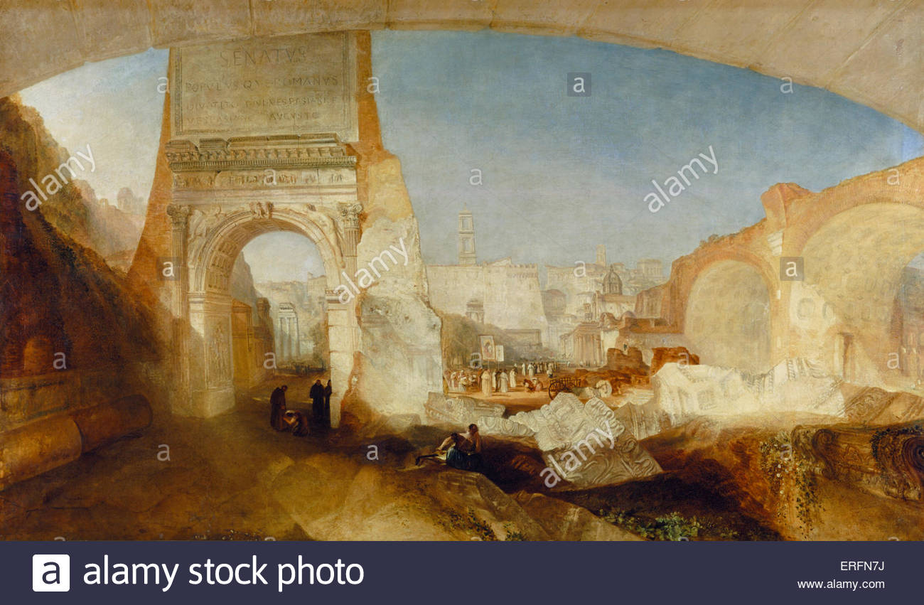 The Forum Romanum by Joseph Mallord William Turner, exhibited 1826 Paintin. English painter, 1775 - 1851. Courtesy - Stock Image