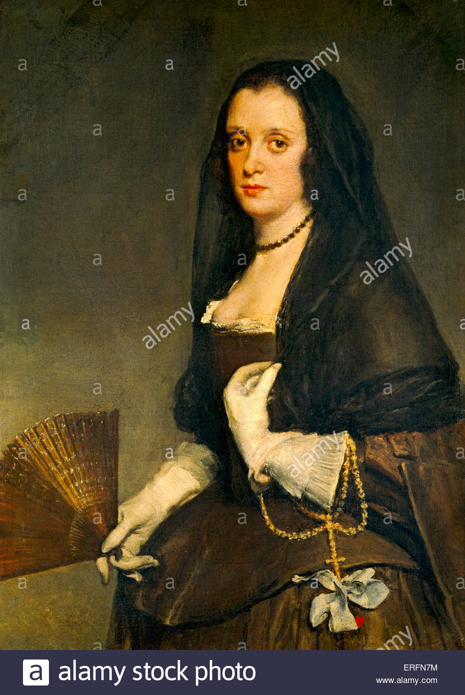 The Lady with a Fan by Diego Velázquez, c.1630-50 Painting  Spanish painter, 6 June 1599 – 6 August 1660.  - Stock Image
