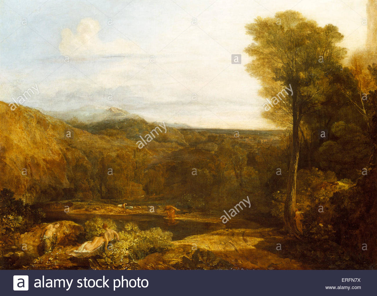 Narcissus and Echo by Joseph Mallord William Turner, exhibited 1804 Painting. English painter, 1775 - 1851.  Courtesy - Stock Image
