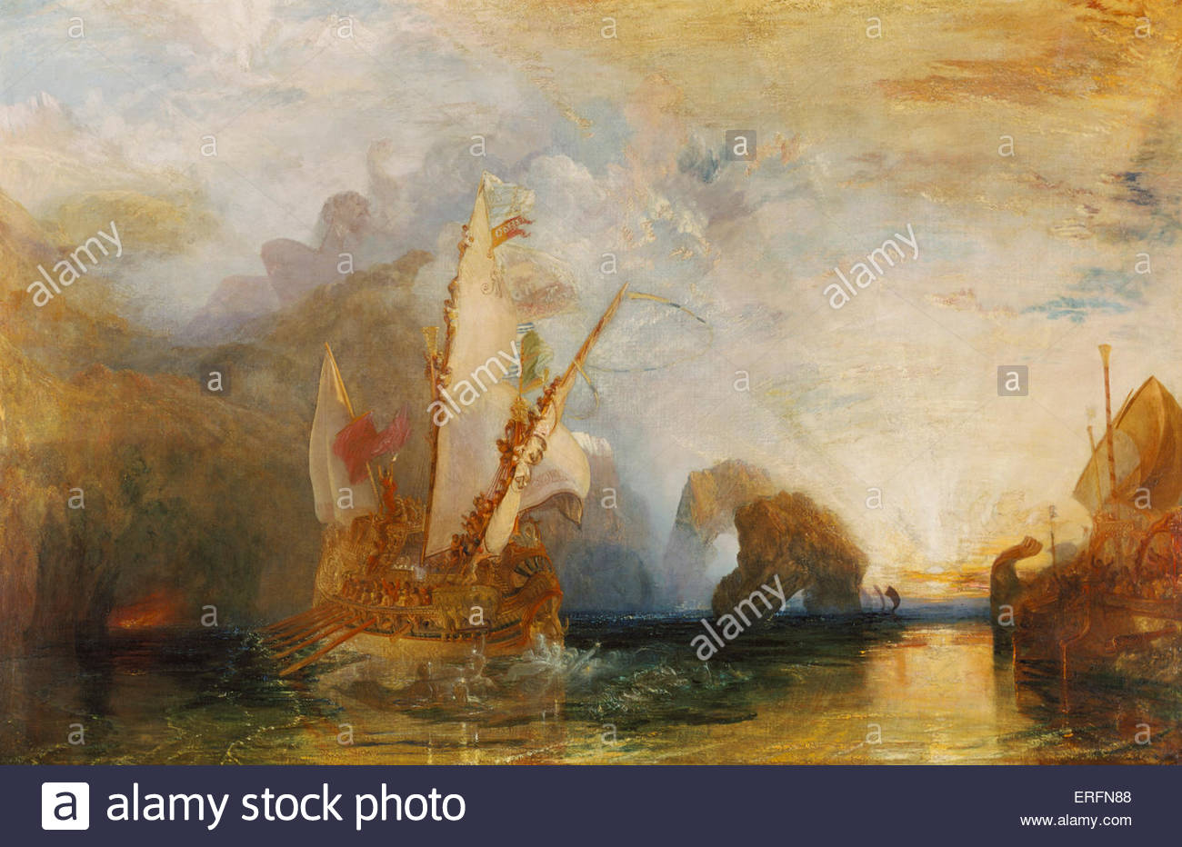 Ulysses deriding Polyphemus - Homer's Odyssey by Joseph Mallord William Turner, 1829 Painting. English painter, - Stock Image