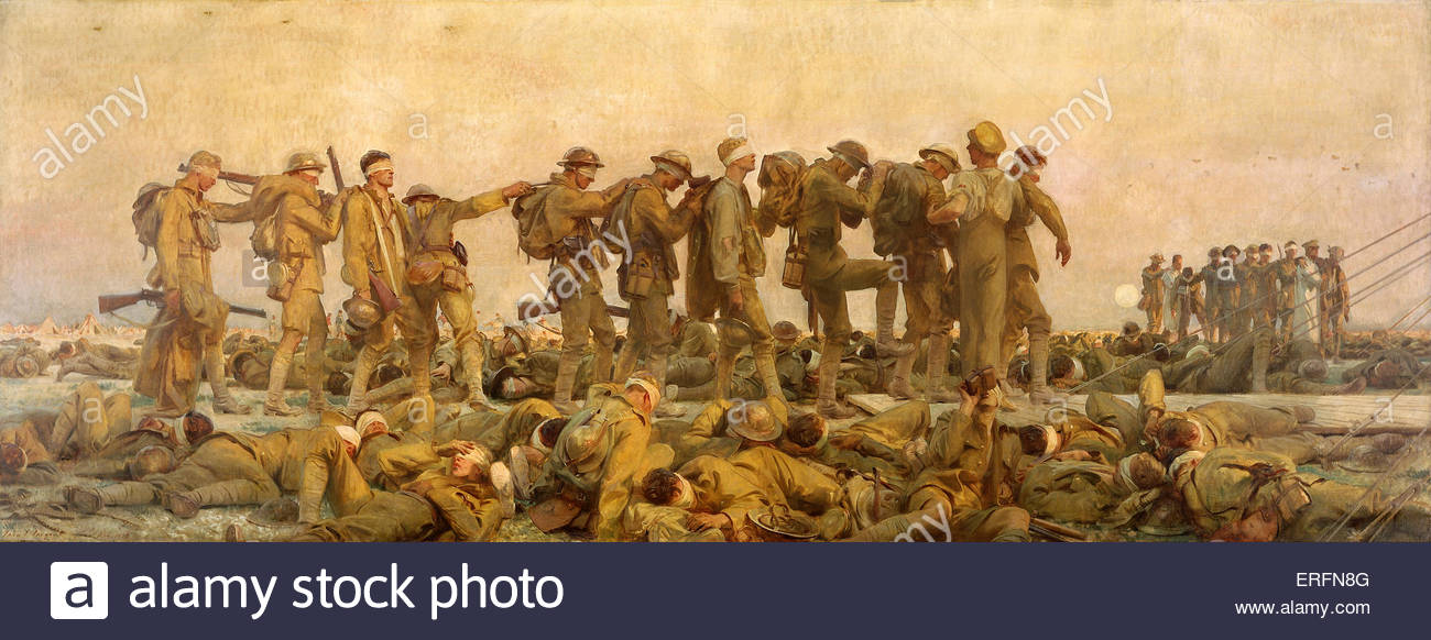 Gassed by John Singer Sargent, 1918-1919 painting. American painter, (January 12, 1856 – April 14, 1925).  Courtesy - Stock Image