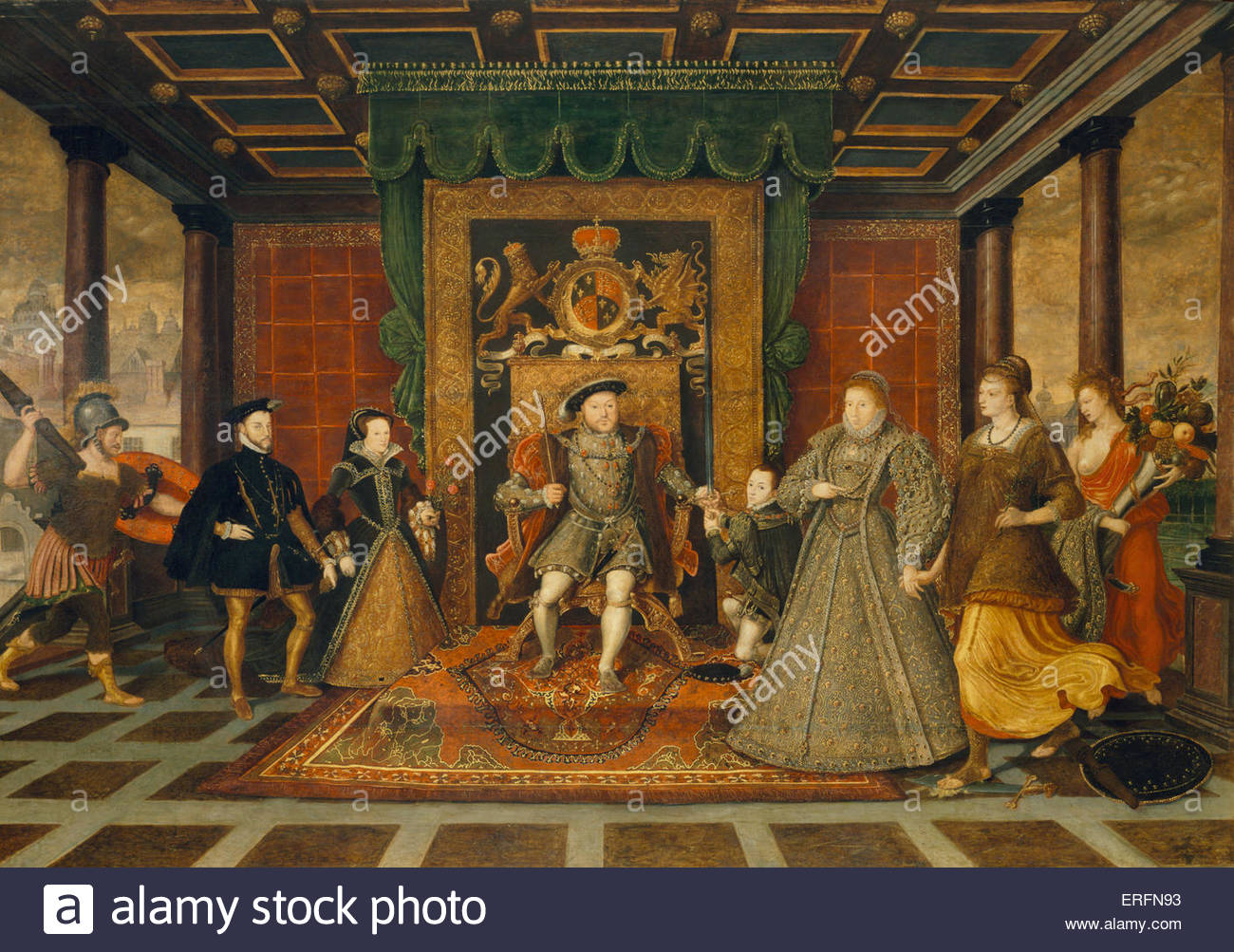 The Family of Henry VIII: an Allegory of the Tudor Succession, by Lucas de Heere, c.1572 Painting. Flemish painter, - Stock Image
