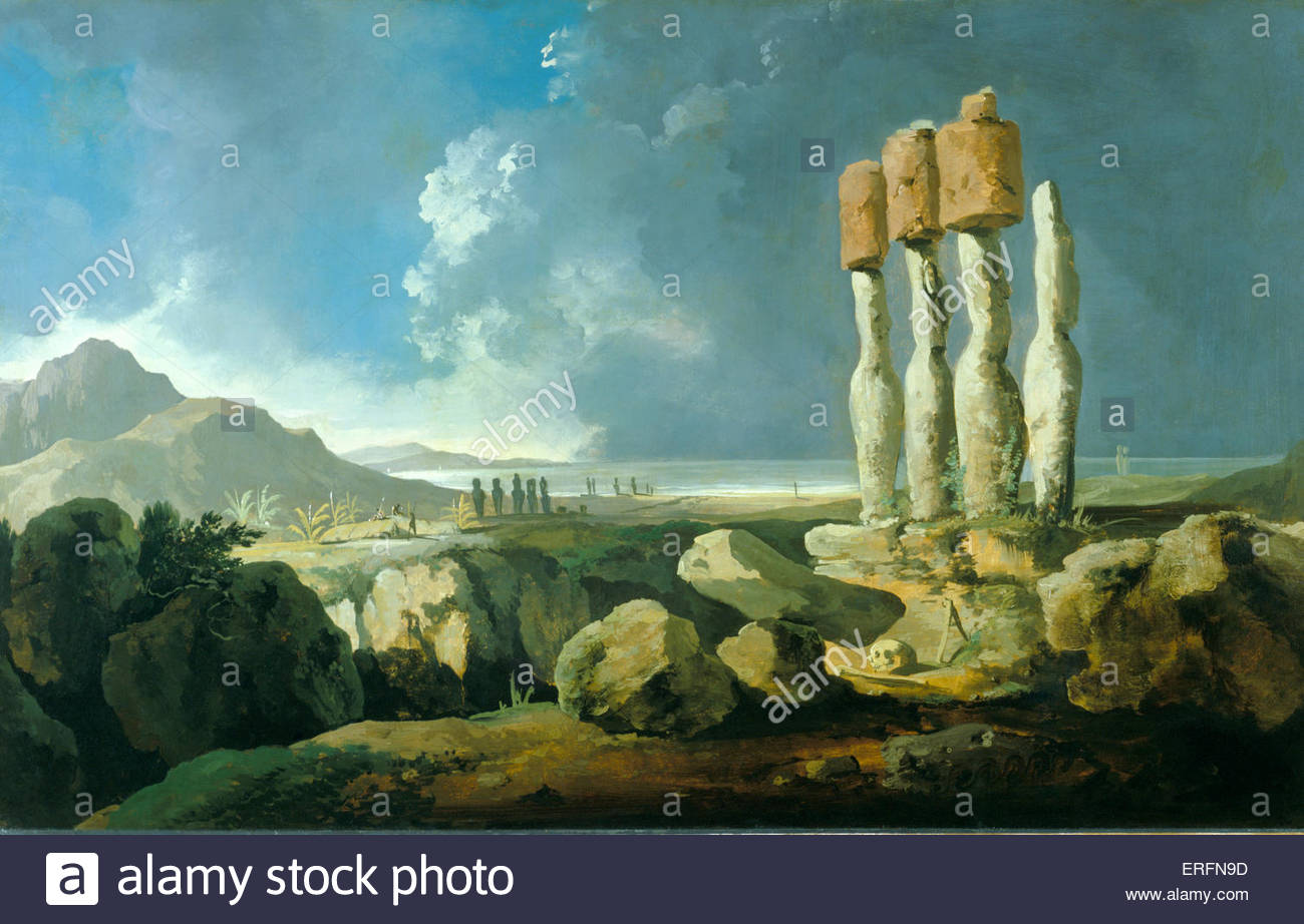 Easter Island by William Hodges, 1775 Painting. English painter, 1744 - 1797. Courtesy of National Maritime Museum. - Stock Image
