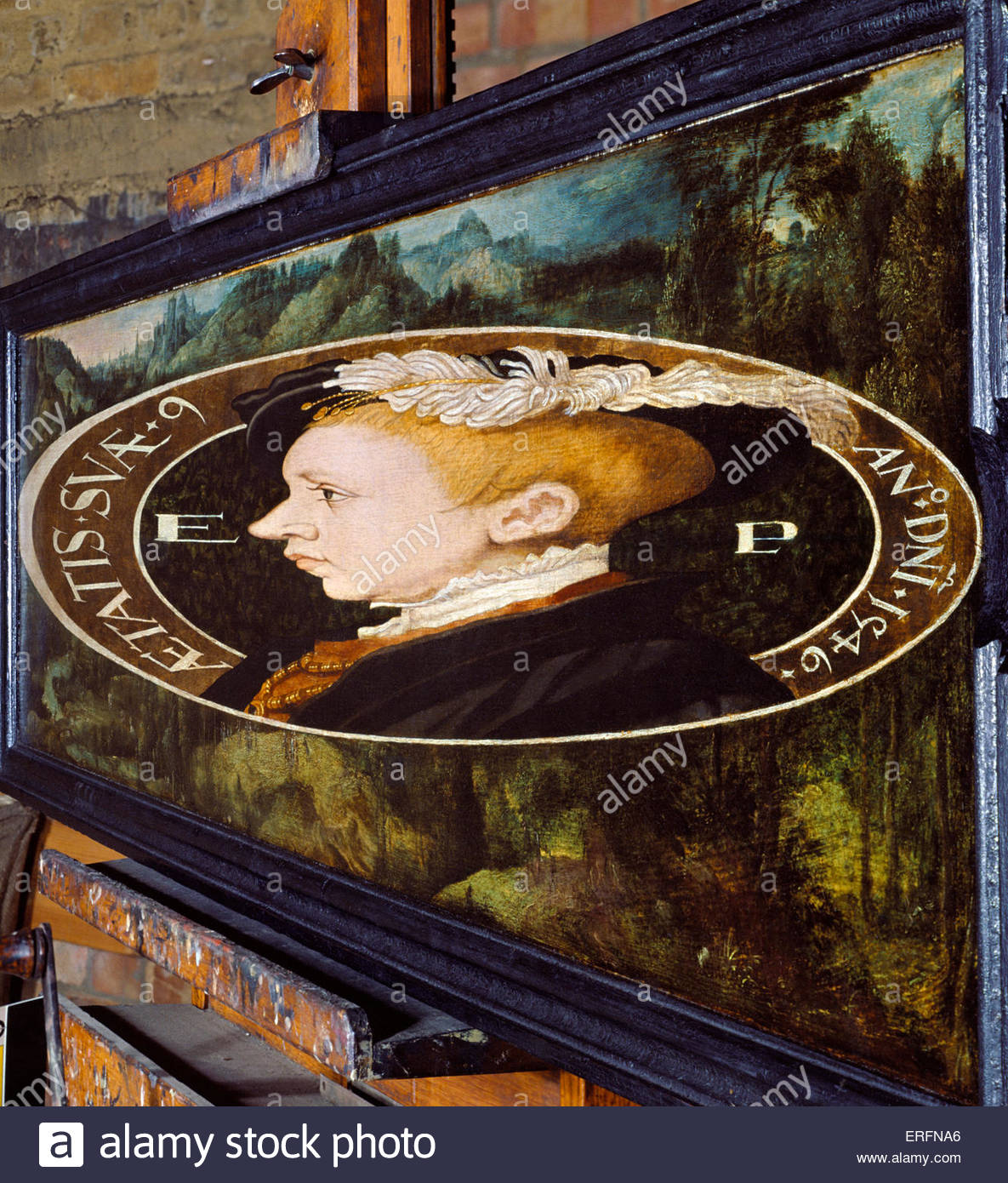 King Edward VI by William Scrots, 1546 Anamorphic painting. Painter. Active 1537-1553. Courtesy of National Portrait - Stock Image