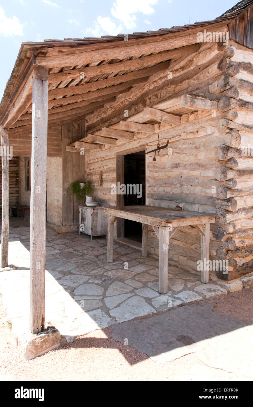 Original log cabin, built in 1869, at the Sauer-Beckman Living History Farm, LBJ State Park and Historic Site, Stonewall, - Stock Image