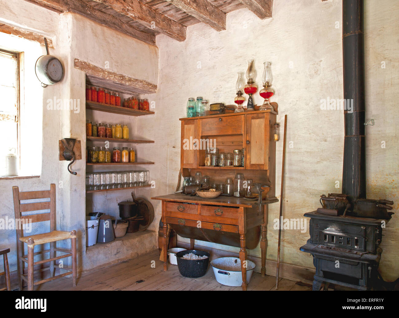 Early 1900s farm kitchen, with no electricity or running water, at