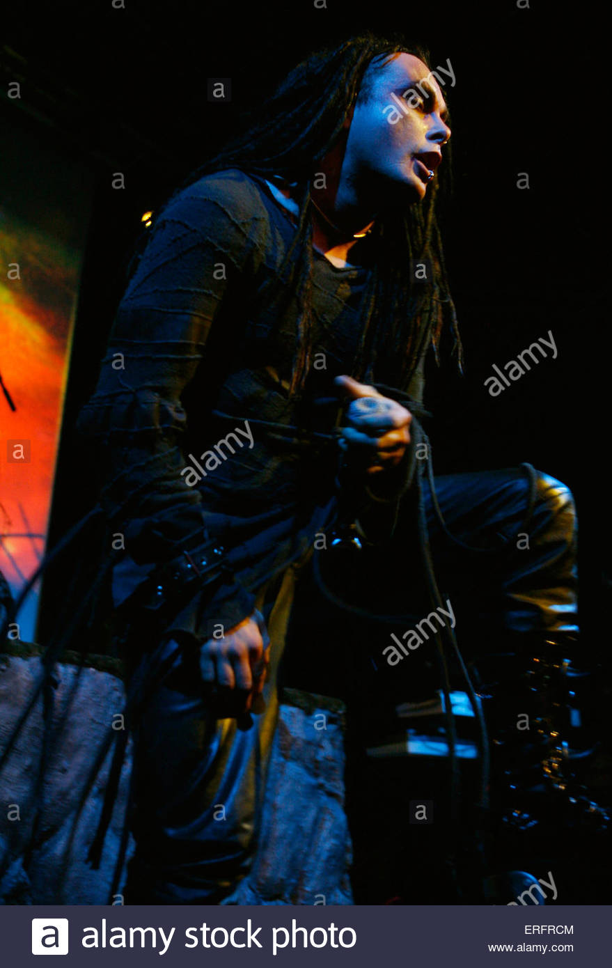 Dani Filth - vocalist of Cradle Of Filth performing in Bristol, April 2007. - Stock Image