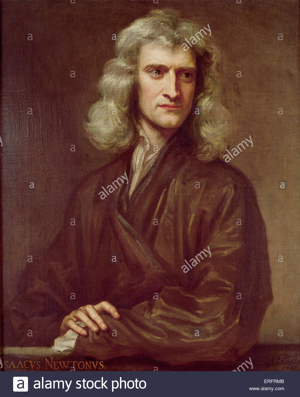 Sir Isaac Newton - painting by Sir Godfrey Kneller, 1689. Courtesy of Uckfield House, Uckfield. IN, English physicist, - Stock Image