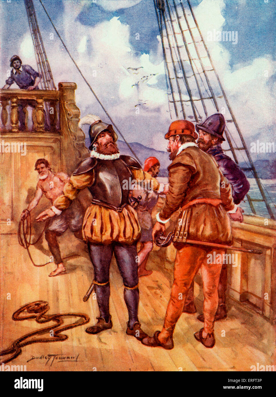 Ferdinand Magellan. Caption reads: 'The fearless sailor who linked two oceans'. Painting by Dudley Tennant. - Stock Image