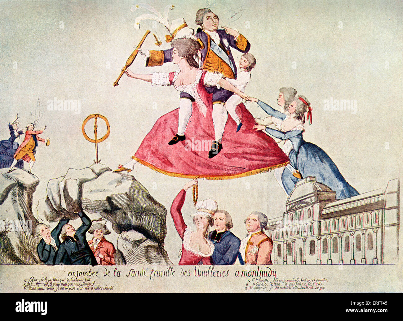 King Louis XVI and his family attempting to flee from Paris, 21 June 1791. Caricature from flyer published in 1792. - Stock Image