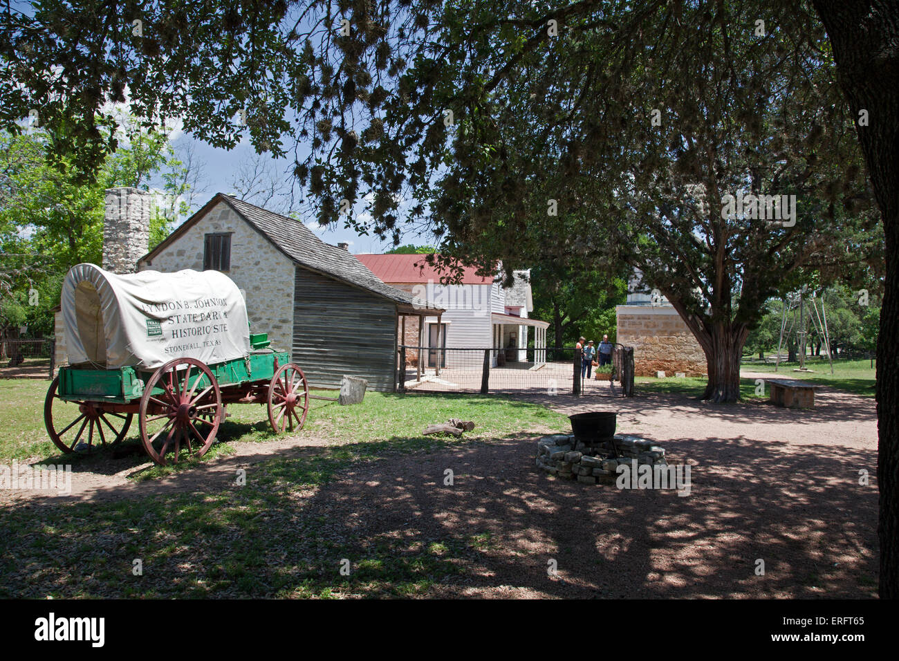Two original homes form the heart of the Sauer-Beckman Living History Farm, LBJ State Park, Stonewall, Texas. - Stock Image