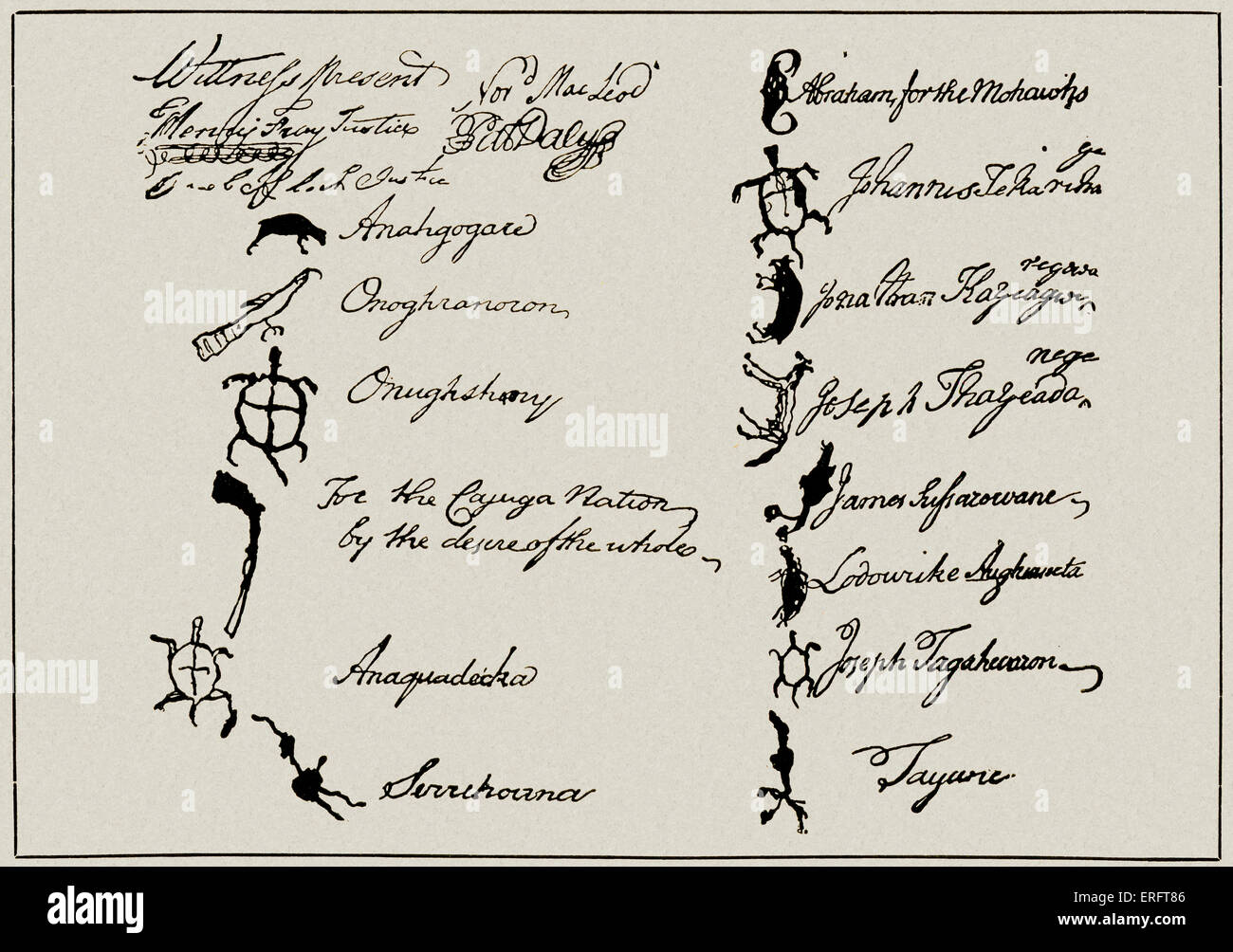 Pictograms of the tribal chiefs of the Six Nations at the bottom of a contract made with Thomas and Richard Penn. - Stock Image