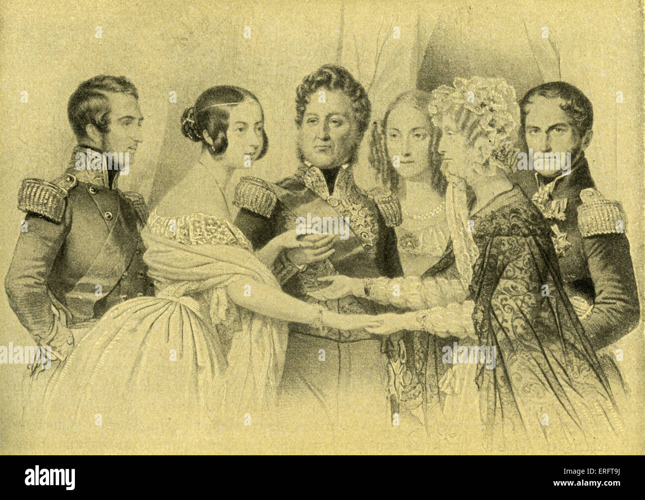 Queen Victoria & Prince Albert of England on a visit to Paris, 1843, meeting the French and Belgian royal families. - Stock Image