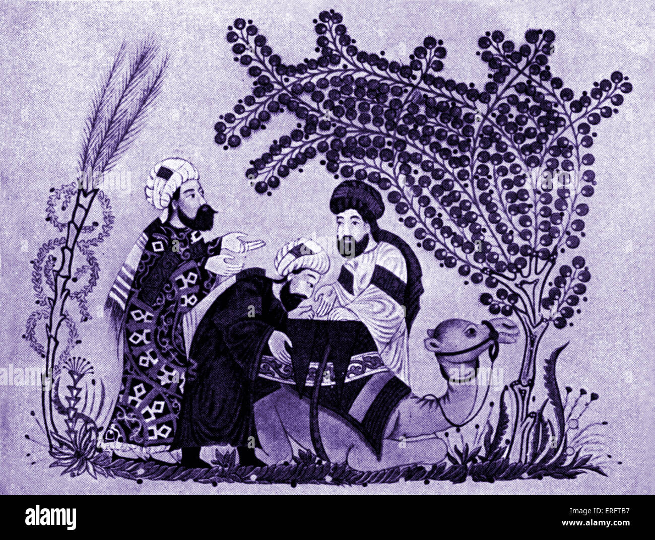 Arab merchants with camel (caravan) - miniature from the Maqamat of al-Hariri. - Stock Image