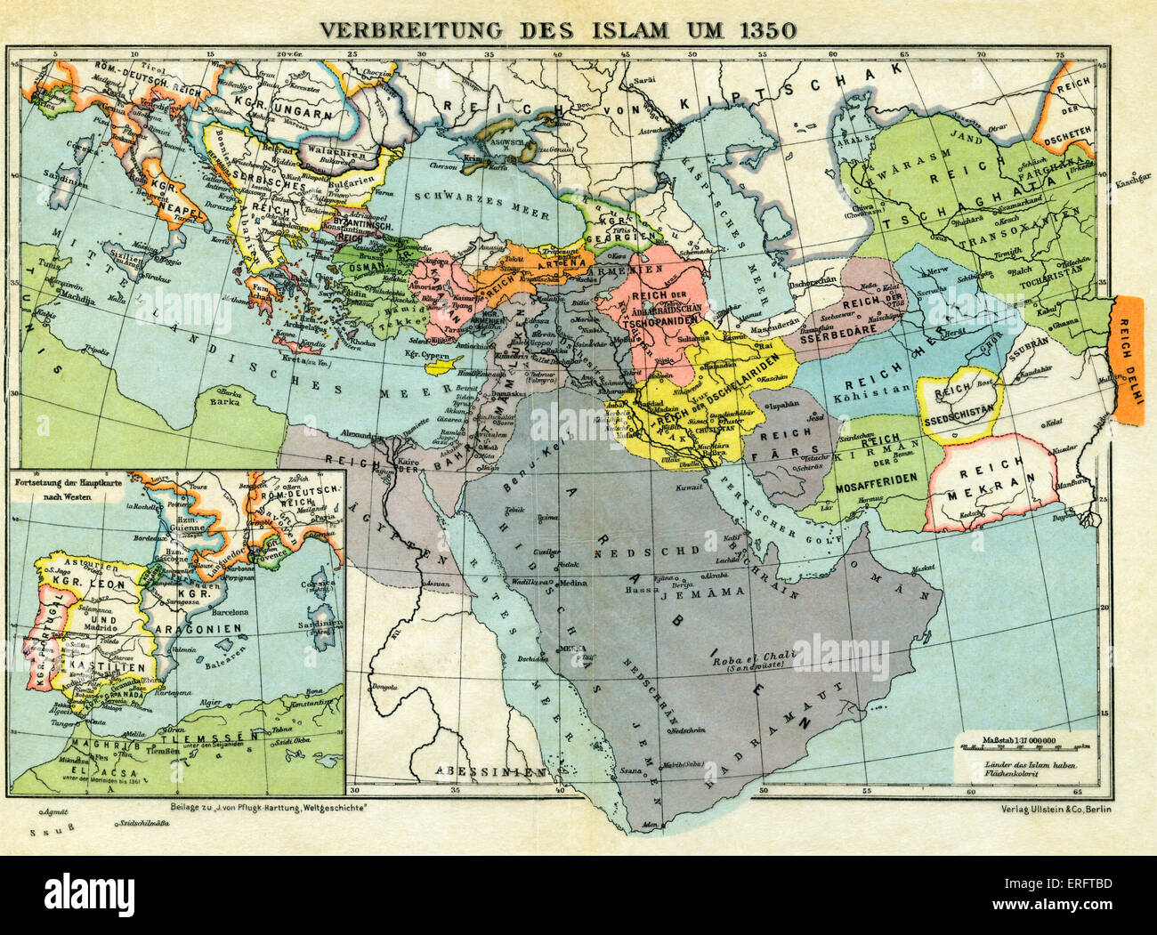 The spread of Islam, c. 1350 - map. The progress into Europe of Islam bringing its influence on religion and culture Stock Photo