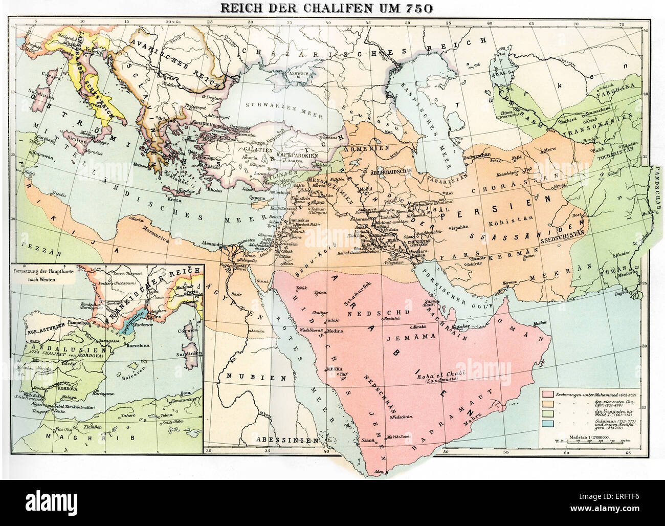 Empire of the Caliphate - map in 750. The Caliphs were the early leaders of the Muslim nation. Left hand square Stock Photo