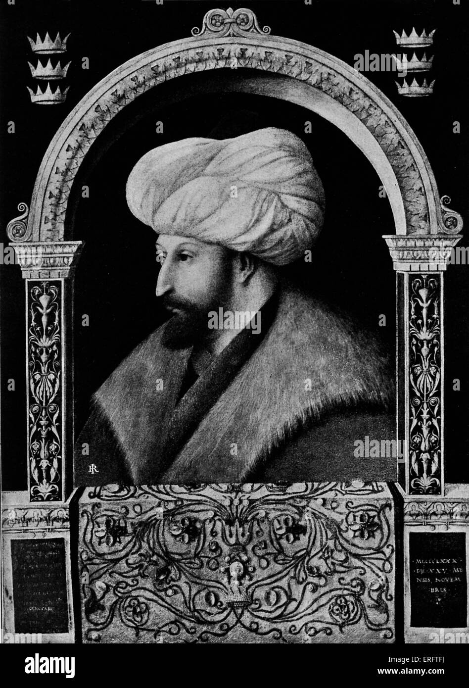 Sultan Muhammad II (also known as Mehmet II or Muhammad the Conqueror) - after a painting by Gentile Bellini.  Reign: - Stock Image