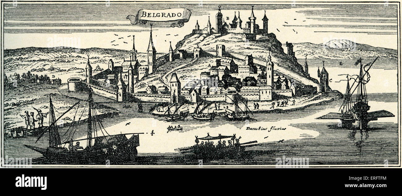 Belgrade at the time of the Ottoman Empire - engraving by Joannes Peeters. - Stock Image