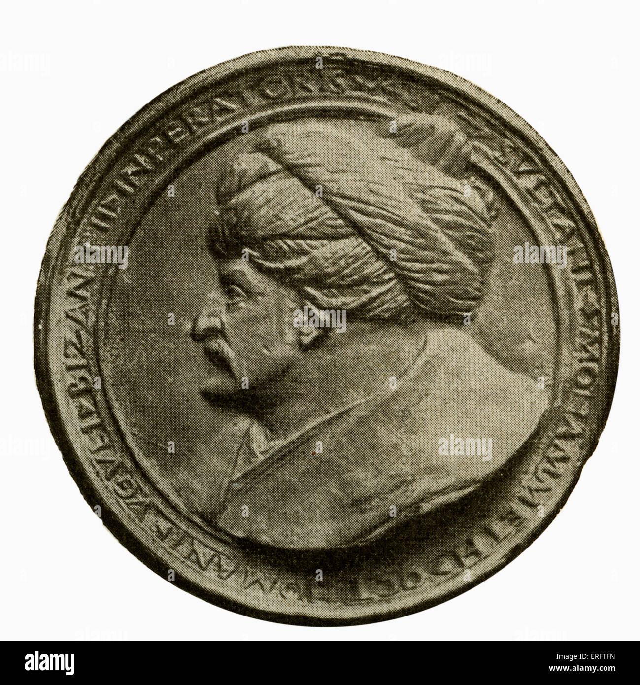 Sultan Muhammad II (also known as Mehmet II or Muhammad the Conqueror) - coin by Florentine medal maker Constantius. - Stock Image