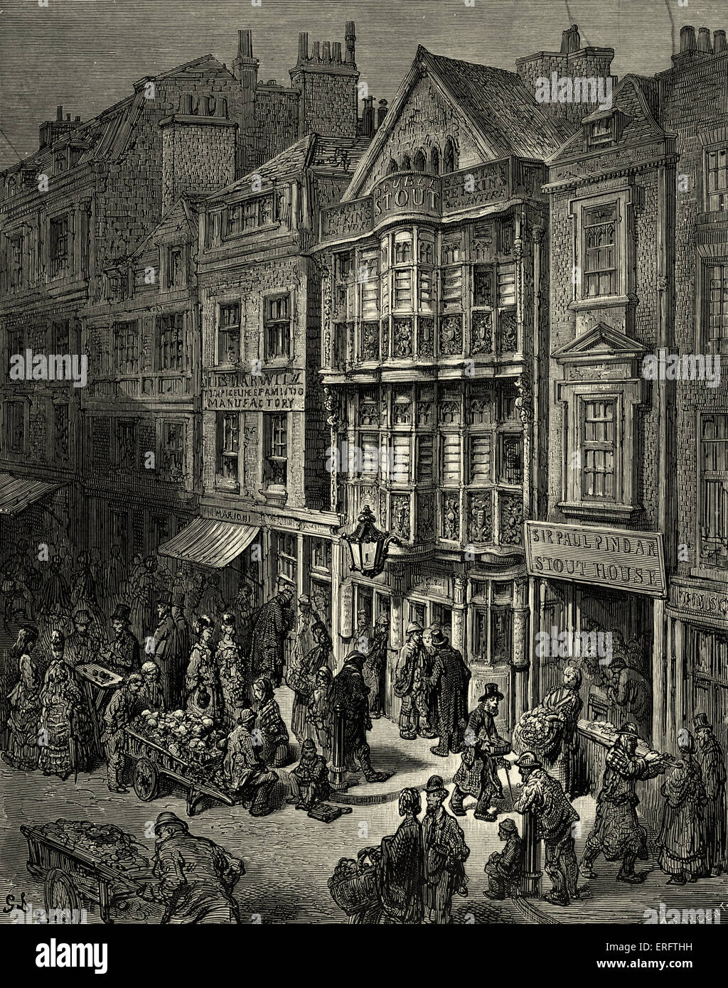 Victorian London - Bishopsgate street. East of London. Jewish quarter. Engraving by Gustave Doré, from 'London, - Stock Image