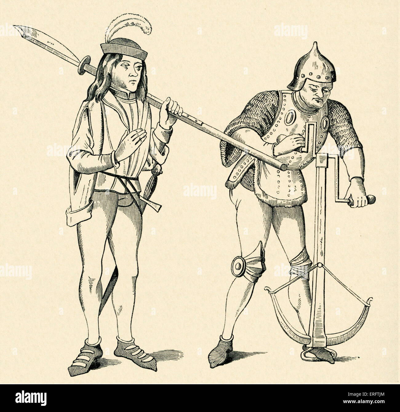 Varlet/Squire carrying an halberd and Archer in fighting dress drawing the string of his crossbow. - Stock Image