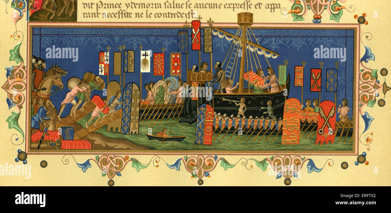 Departing for the Crusades in the Holy Land. French illuminated manuscript showing army on horseback and loading - Stock Image