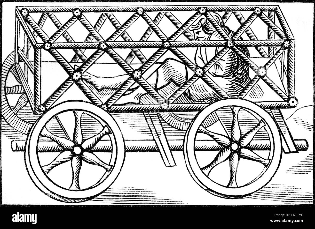Medieval movable iron cage. Woodcuts in the 'Cosmographic Universelle' of Munster 1552. - Stock Image