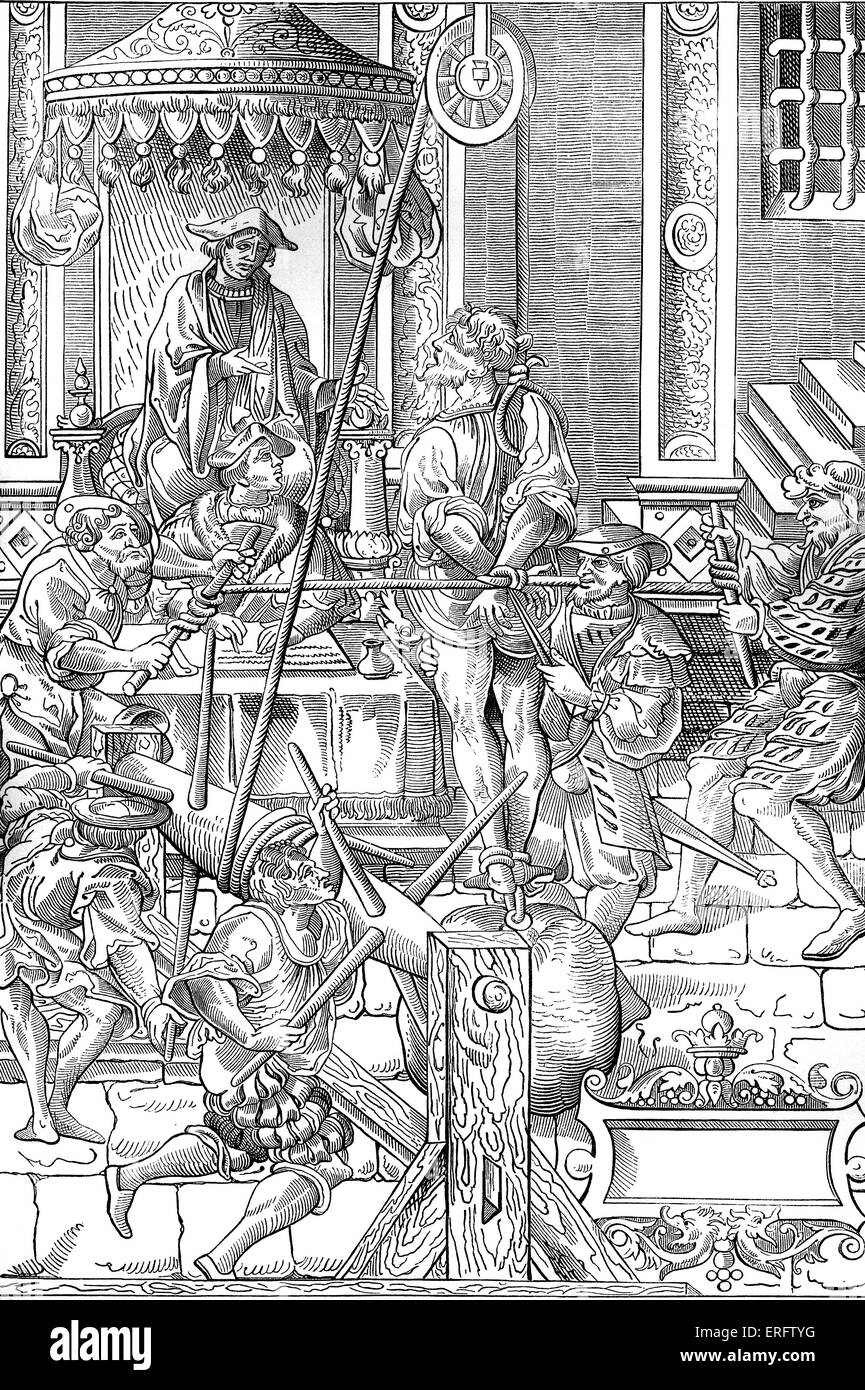 Medieval torture scene. The man was raised with a a series of jerks and has weight attached to his feet leading - Stock Image