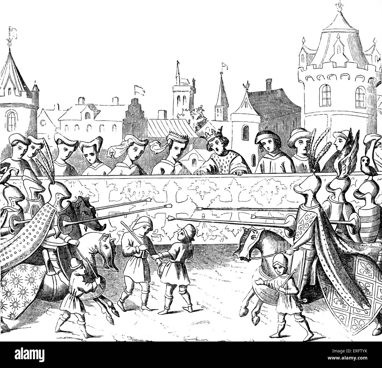 Medieval jousting tournament in honour of the entry of Queen Isabel into Paris. Miniature in the 'Chroniques', - Stock Image