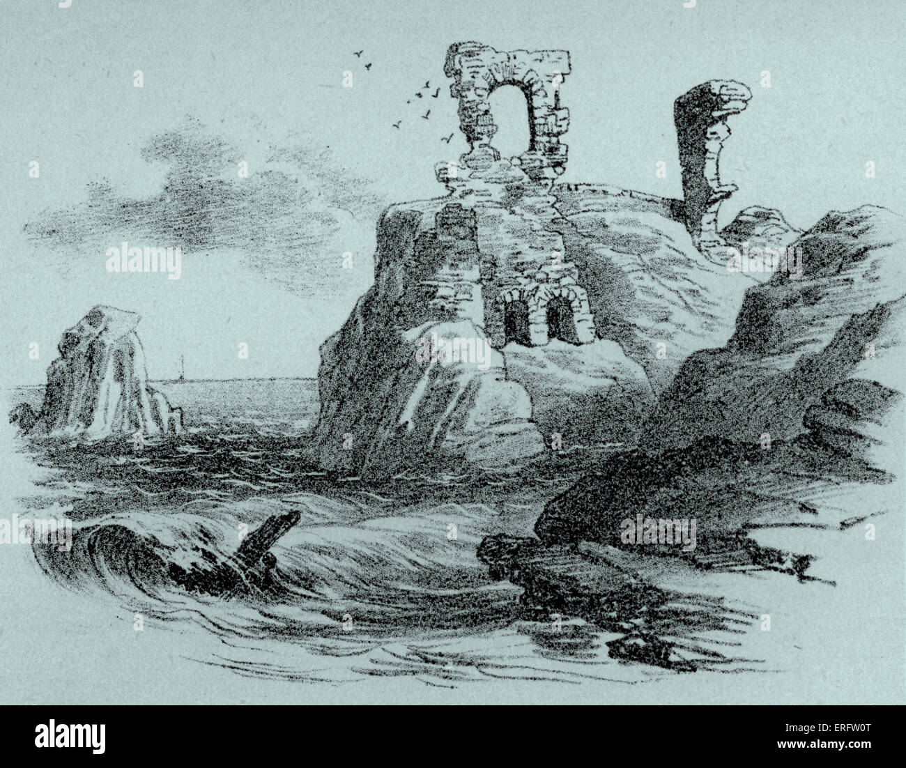 Dunbar Castle remained the stronghold of the Earls of Dunbar until  1457, when the Castle was dismantled to prevent - Stock Image
