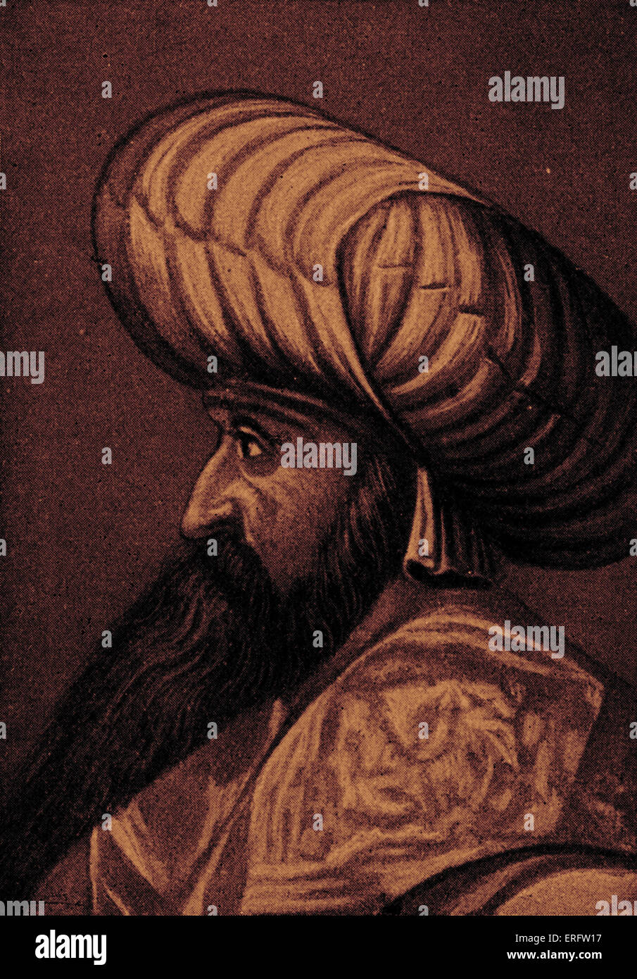 Sultan Bajesid I, also known as Bayezid I - portrait  Reign: 1389- 1402 - Stock Image