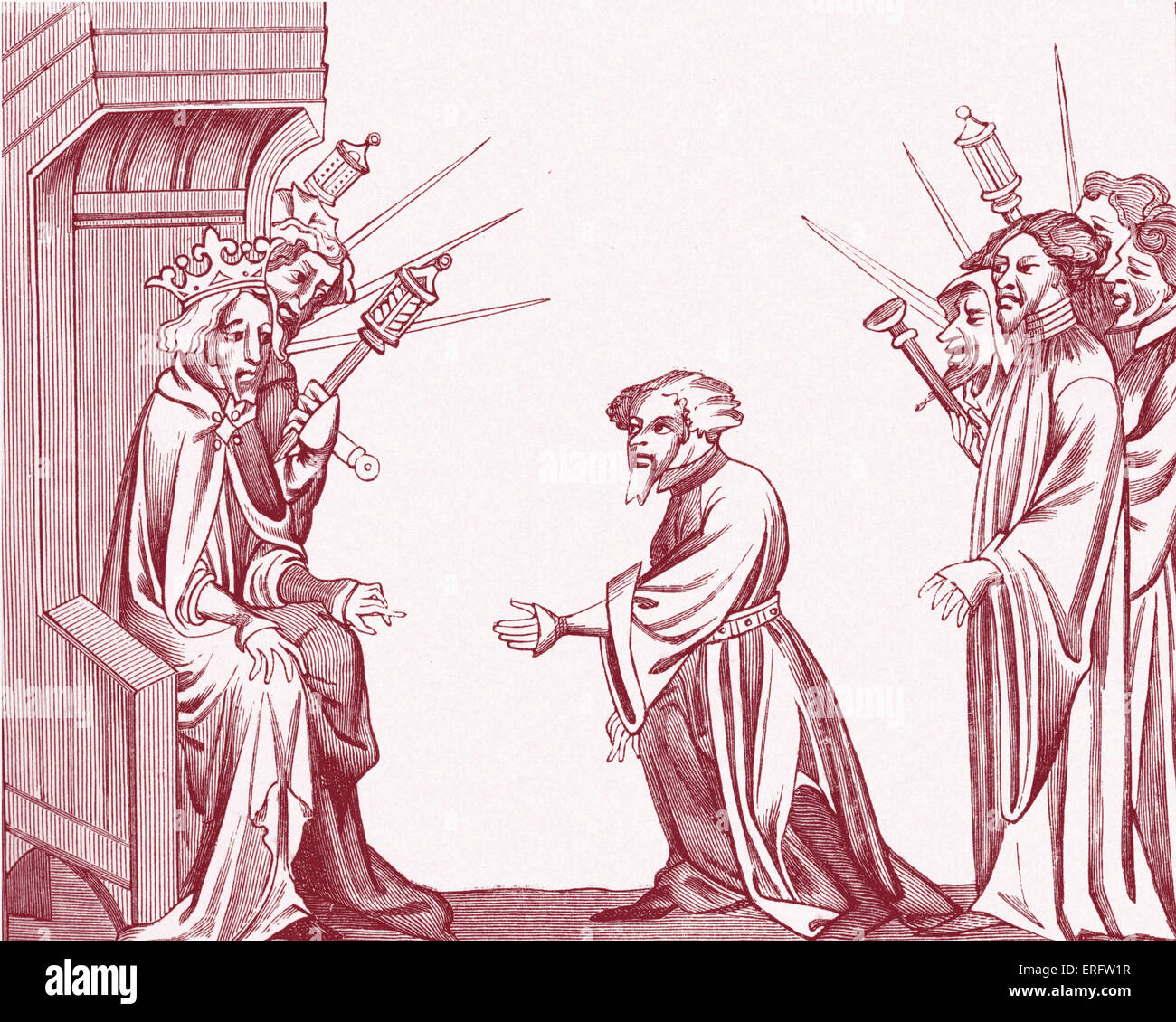 King Charlemagne receiving the Oath of Fidelity and Homage from one of his great Feudatories or High Barons. Copy - Stock Image