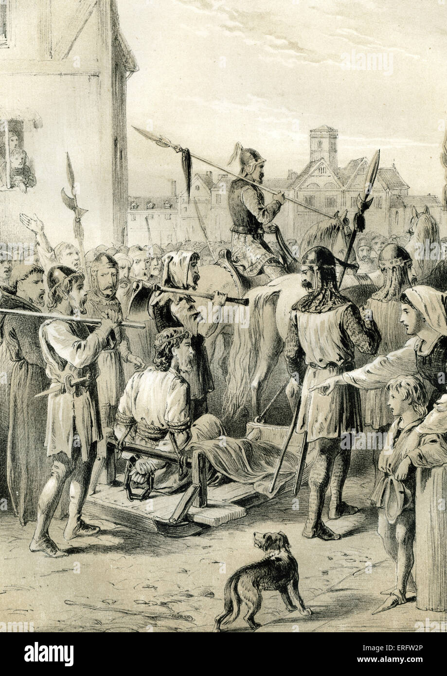 William Wallace, a minor Scottish nobleman  who had some military success against Edward I, is dragged to execution - Stock Image