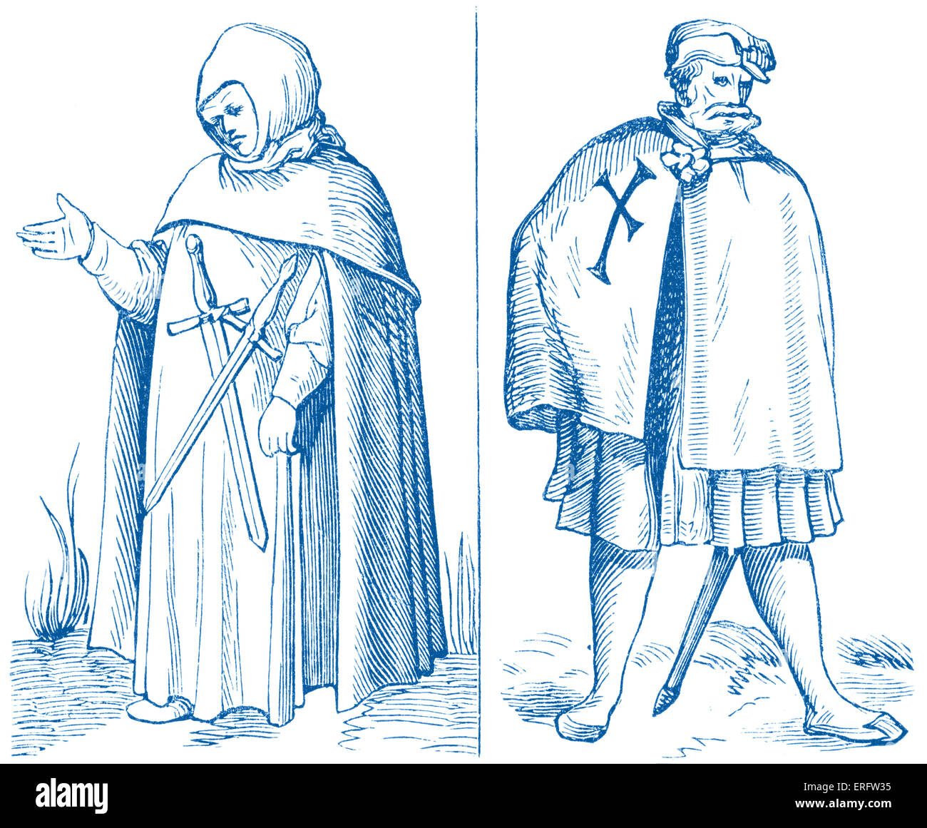 Medieval Teutonic knights. Woodcuts in the 'Cosmographic Universelle' of Munster 1552. - Stock Image