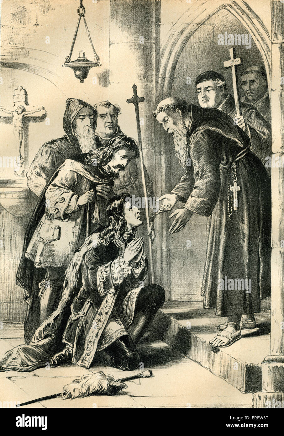King James II received by the monks of La Trappe Abbey  in Soligny-la-Trappe, Orne, France. King James was fleeing Stock Photo