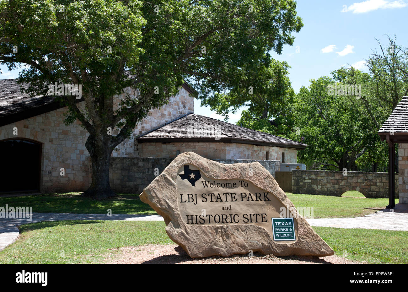 Entrance, LBJ State Park and Historic Site, Stonewall, Texas. Stock Photo