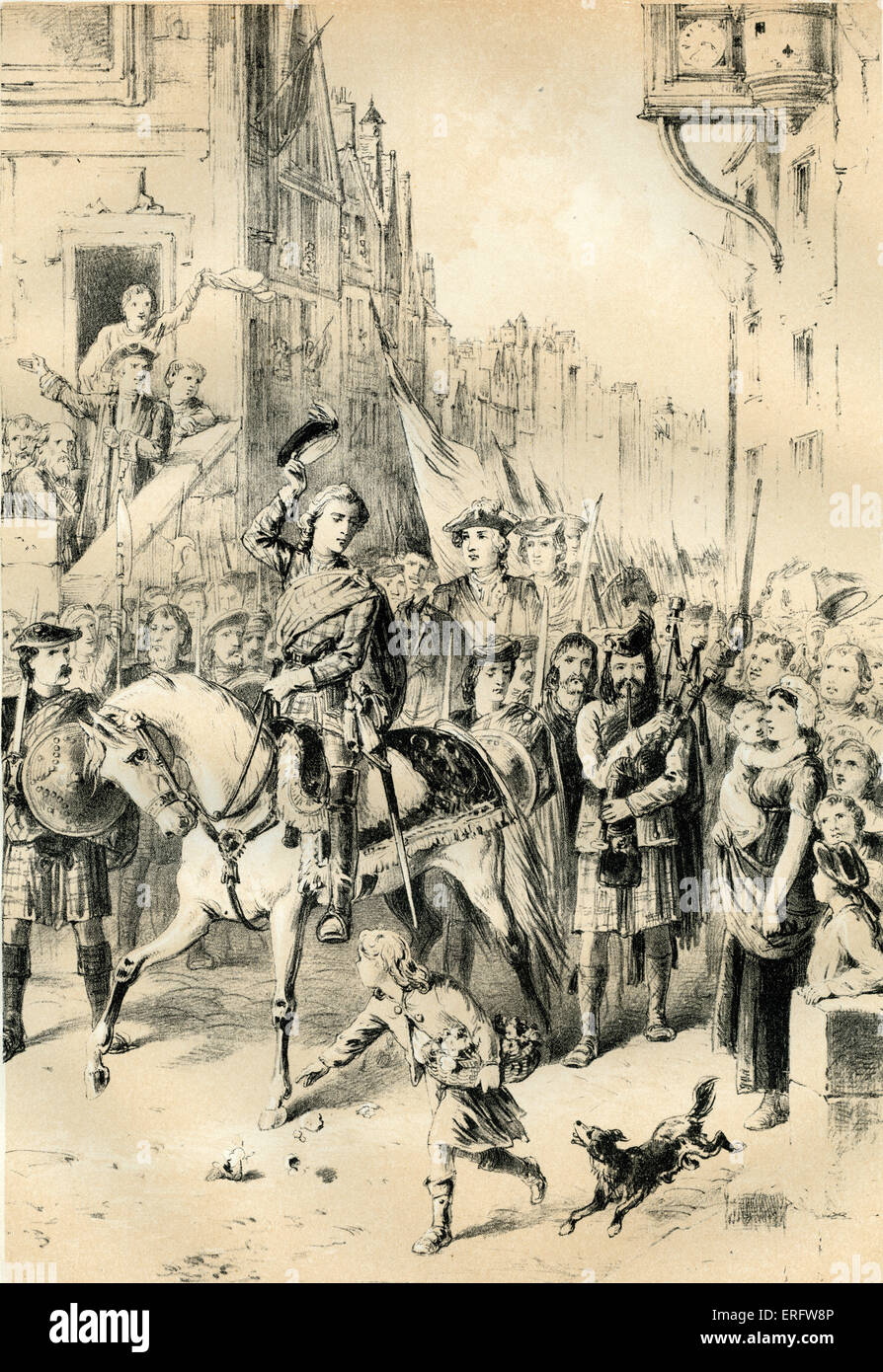 Prince Charles Edward entering Edinburgh after the battle of Prestonpans (1745), the first significant conflict Stock Photo