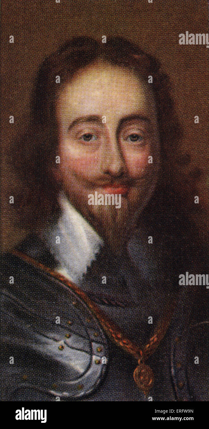 King Charles I portrait  (Reigned 1625 - 1649). The king believed in the divinity of Kingship and clashed with Parliament - Stock Image
