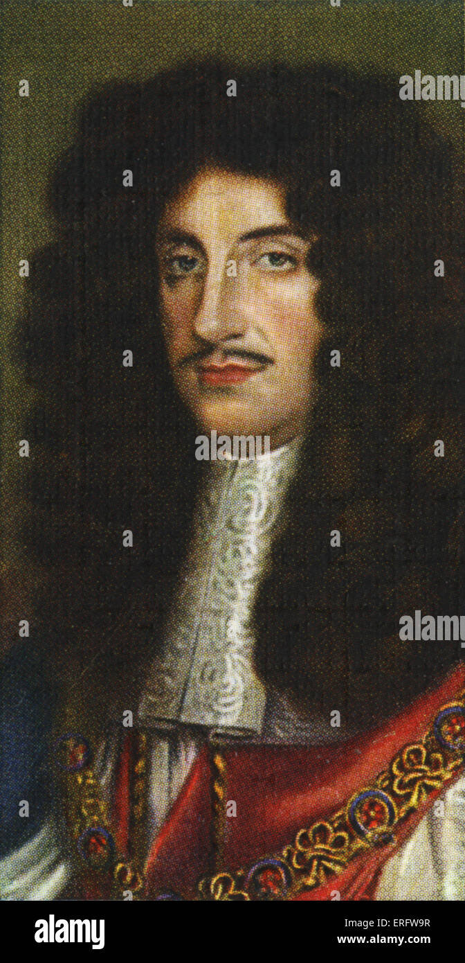 King Charles II portrait  (Reigned 1660 - 1685). Having been exiled from England as a young man he returned to rule - Stock Image