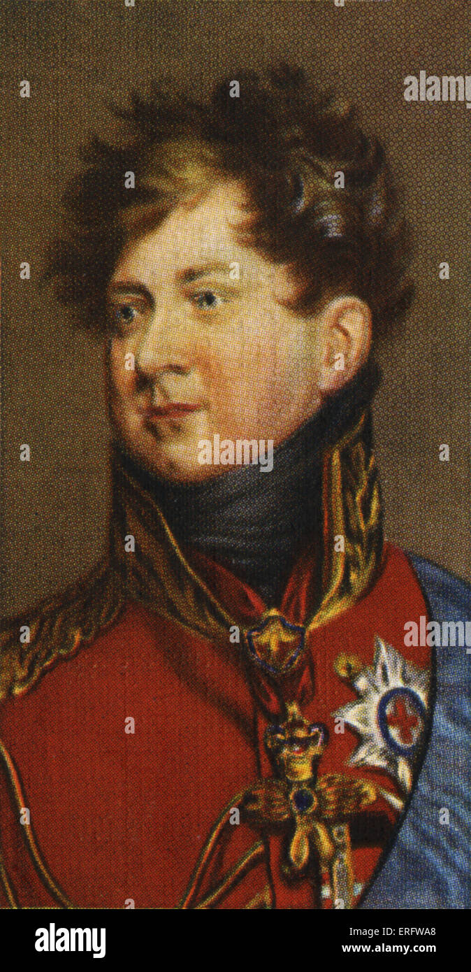 King George IV portrait  (Reigned 1820 - 1830). George acted as Regent for his father from 1811-1820. From Player's - Stock Image