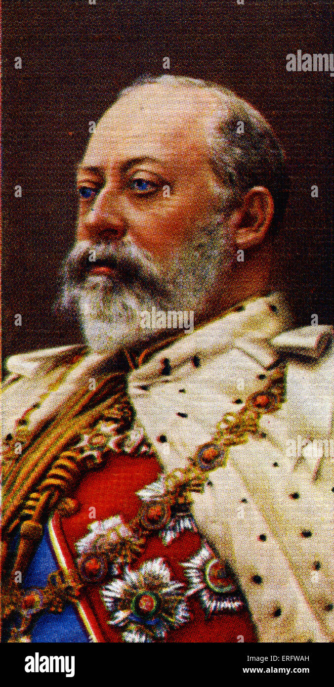 King Edward VII portrait  (Reigned 1901 - 1910). Edward the seventh was the son of Queen Victoria and Prince Albert. - Stock Image
