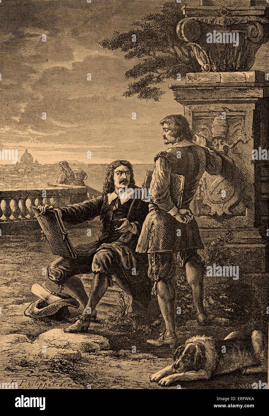 Nicholas Poussin and Claude Lorrain. Claude Lorrain   was an artist of the Baroque era. Nicolas Poussin was a classical - Stock Image