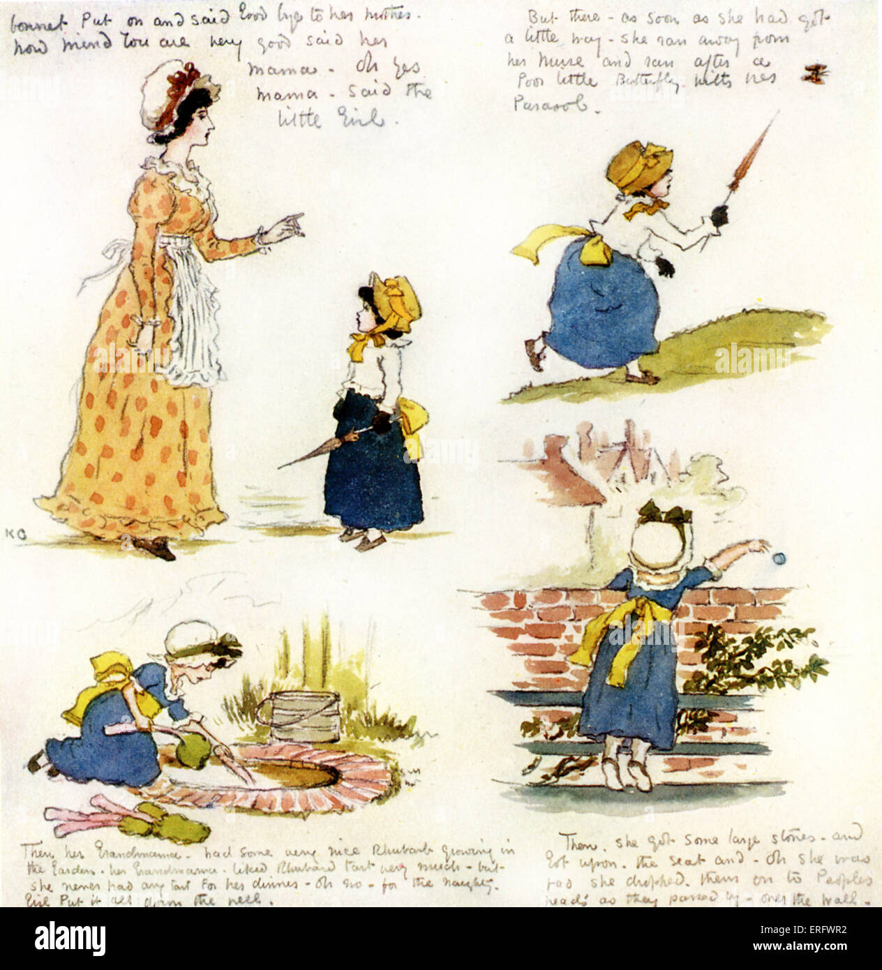 'The naughty little girl who went to see her grandmama' by Kate Greenaway.  Four-page  story written for Violet Stock Photo
