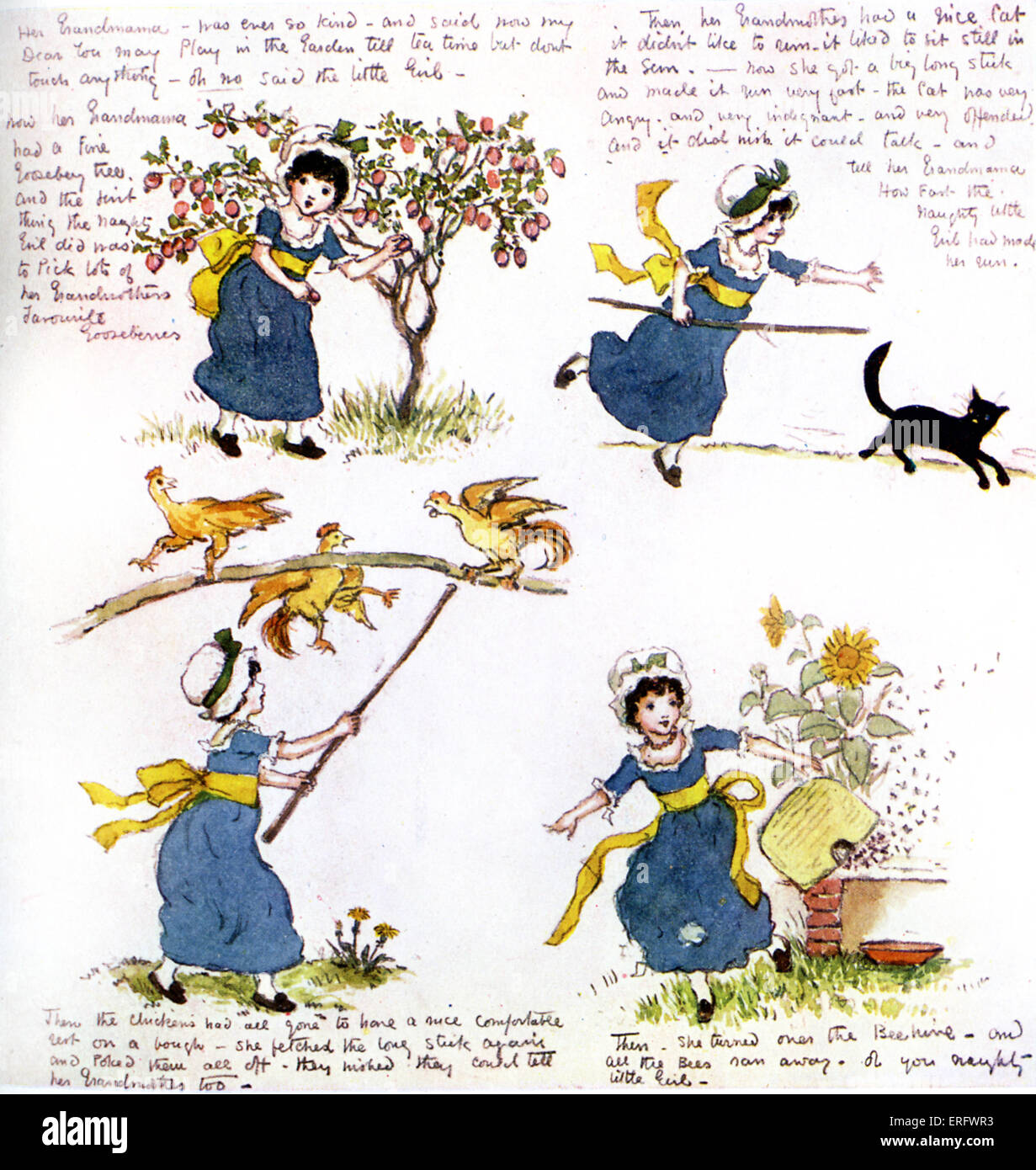 'The naughty little girl who went to see her grandmama' by Kate Greenaway.  Four-page  story written for - Stock Image
