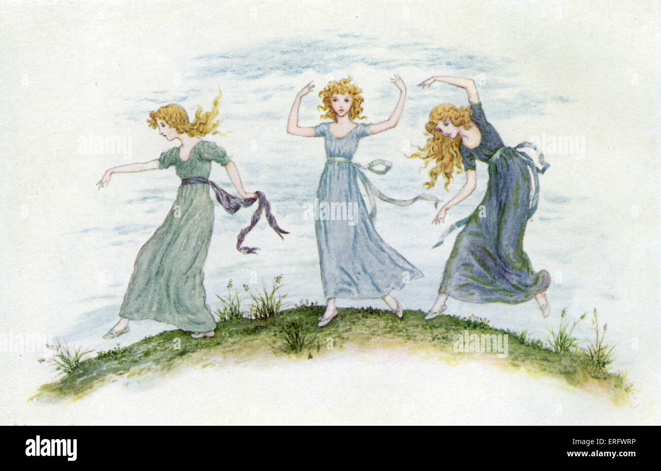 'The dancing of the felspar fairies'  by Kate Greenaway. Water-colour painting. - Stock Image