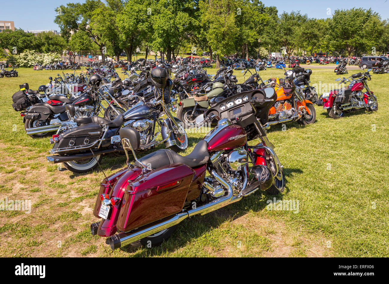 WASHINGTON, DC, USA - Motorcycles parked on National Mall during Rolling Thunder Rally on Memorial Day weekend. - Stock Image