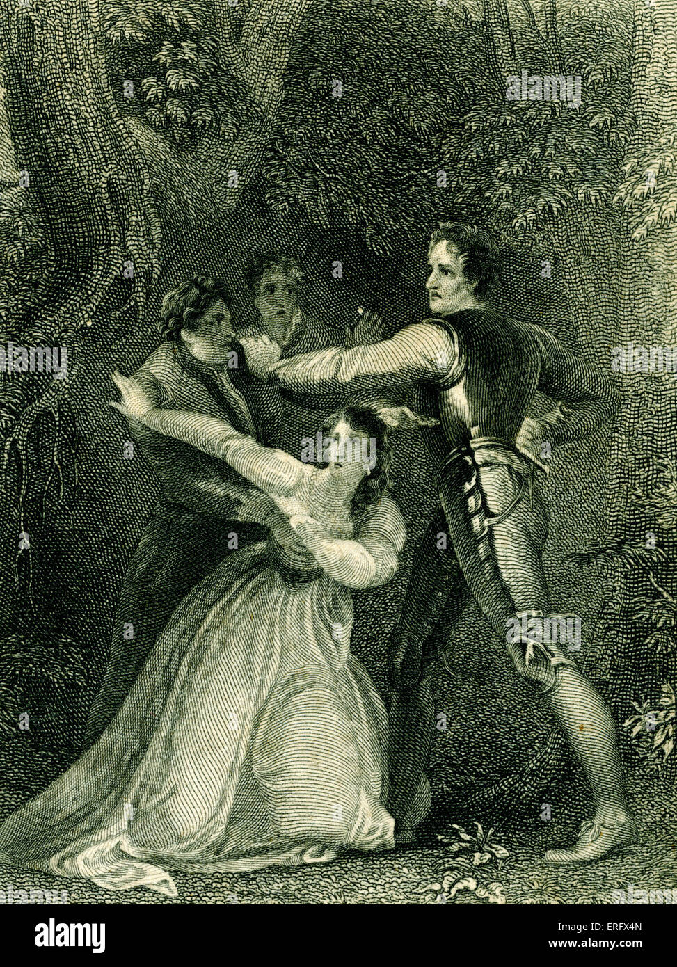 William Shakespeare - Two Gentlemen of Verona - comedy.  In the woods. Painting by Stothard, engraving by Rogers. - Stock Image