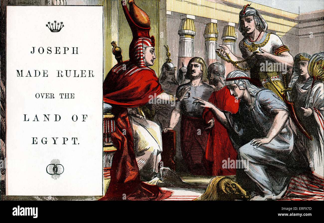 Genesis 41: Joseph made ruler over the land of Egypt.  (consequence of Joseph prediciting 7 good years and 7 lean - Stock Image