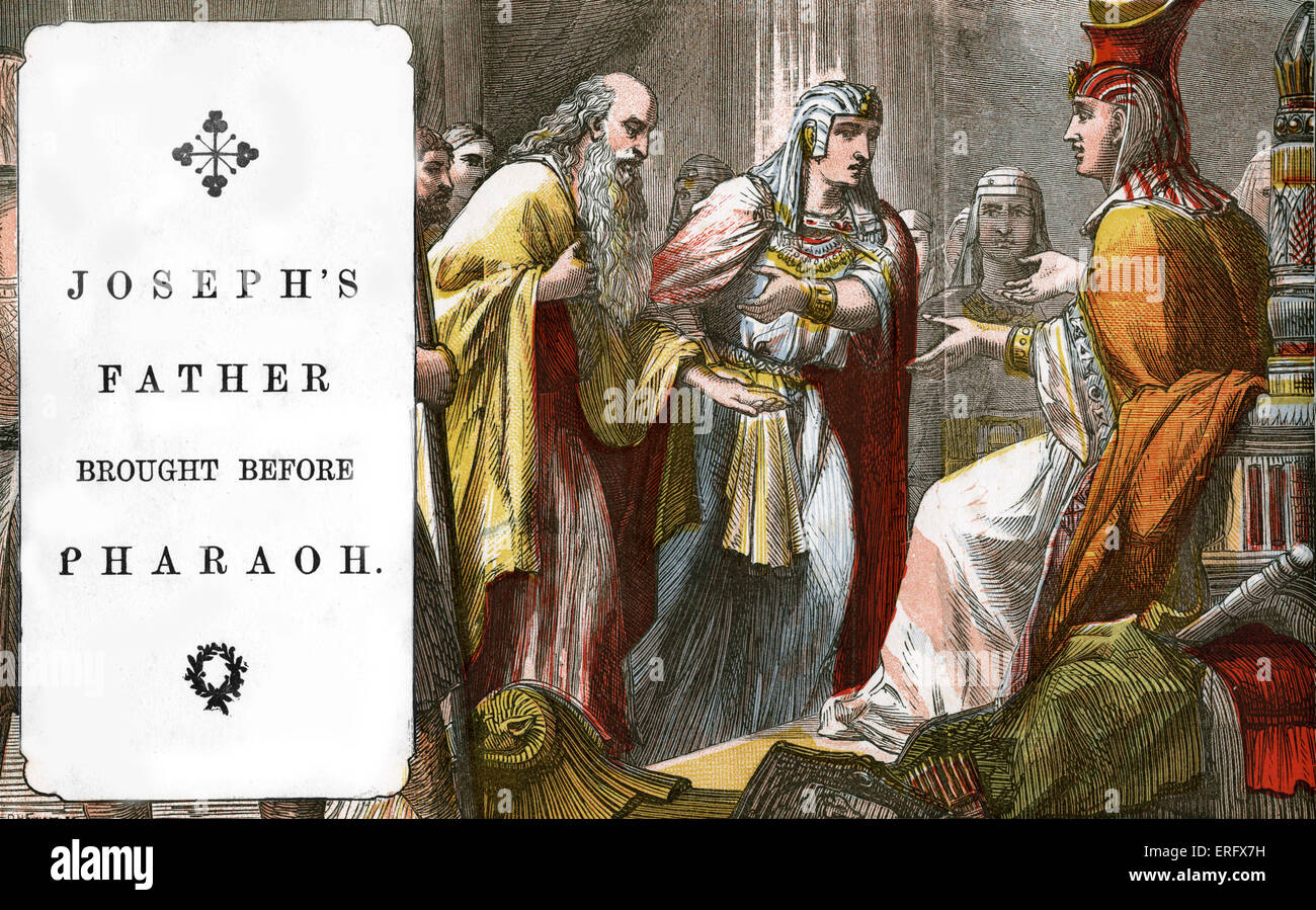 Genesis 47: Joseph's father brought before Pharaoh.  Bible stories in Victorian illustrations for Sunday Schoo - Stock Image