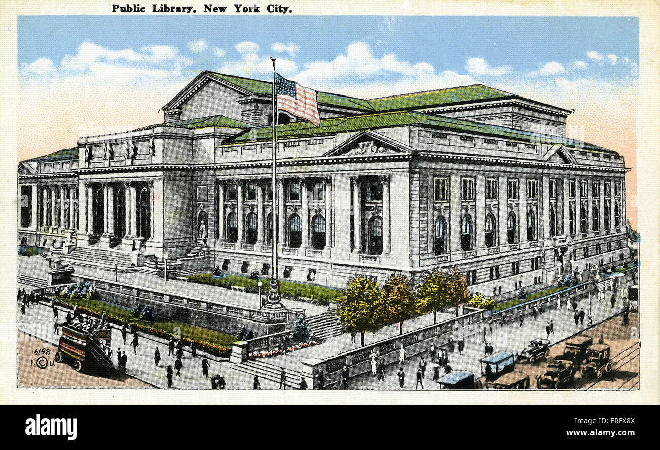 NEW YORK, Public Library, 5th Avenue & 42nd Street - Stock Image